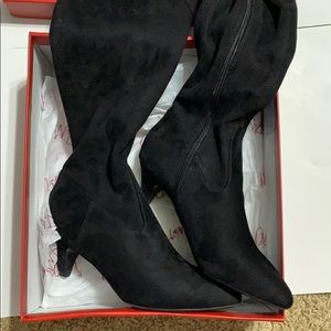NIB Impo over the knee black suede boots, size7.5